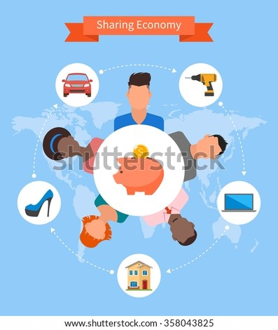 Sharing economy and smart consumption concept. Vector illustration in flat style. People save money and share resources. - stock vector
