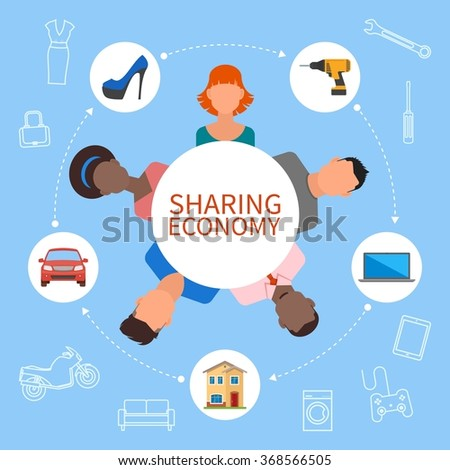 Sharing economy and smart consumption concept. Vector illustration in flat style. People save money and share resources.
