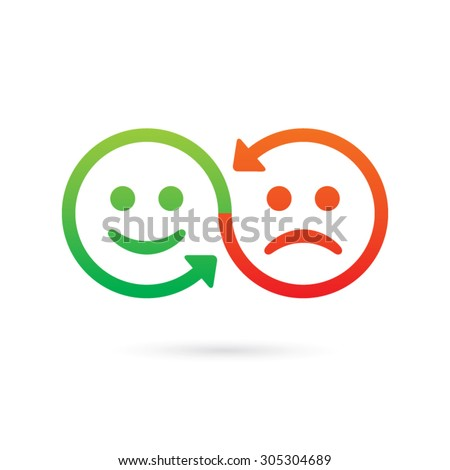 Sharing emotions concept. Emotics face swap vector icon. - stock vector