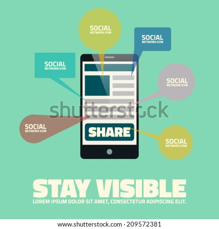Sharing is caring - phone vector template - stock vector