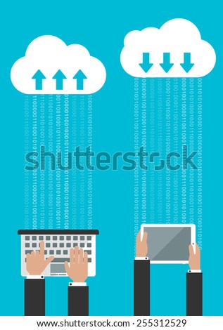 Sharing or synchronizing data in the cloud concept with man entering data on a laptop and of a second man receiving the data on a tablet - stock vector