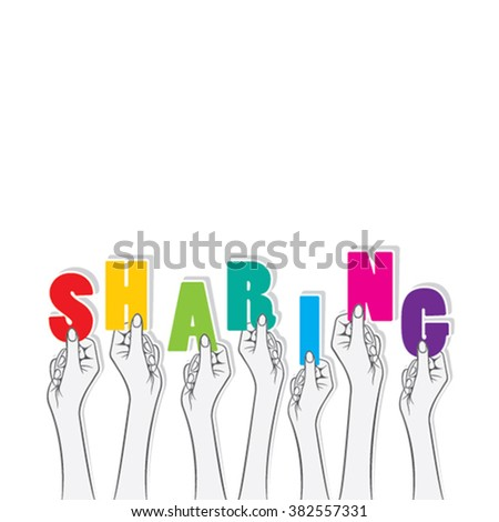 sharing text banner hold in hand design vector - stock vector