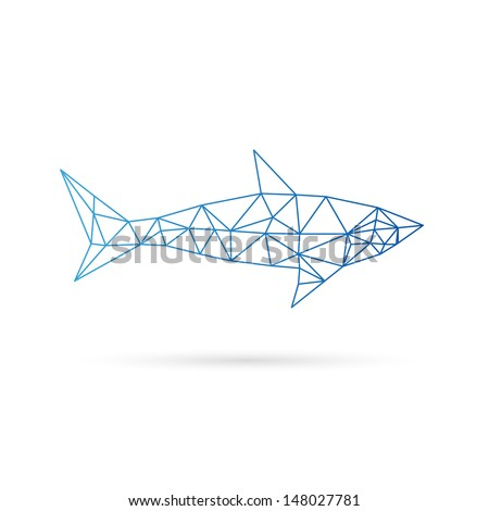 Shark abstract isolated on a white background - stock vector