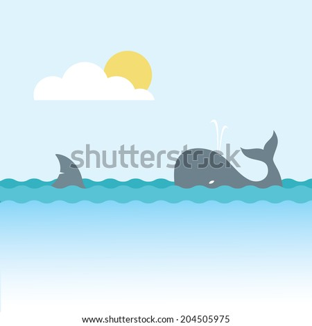 Shark and whale - vector illustration - stock vector