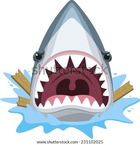 Shark attack jaw teeth mad furious, vector illustration cartoon.  - stock vector