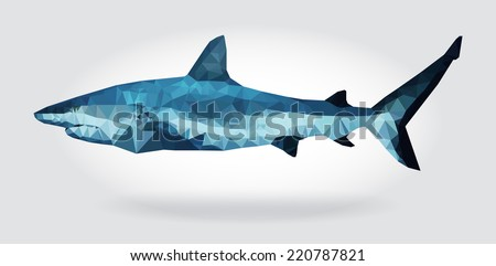Shark body vector isolated, geometric modern illustration