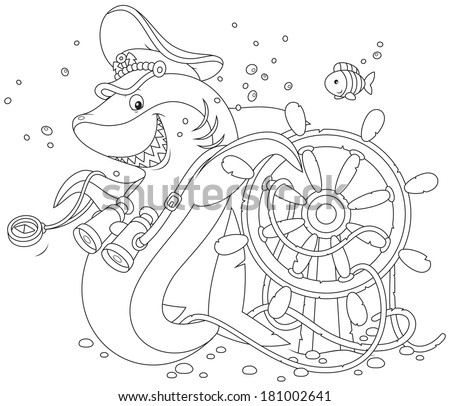 shark captain and steering wheel - stock vector