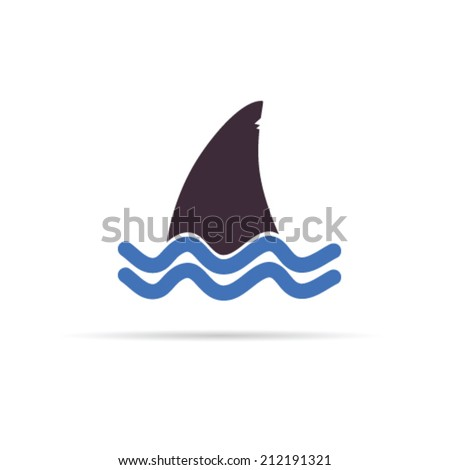 shark color icon vector illustration on white - stock vector