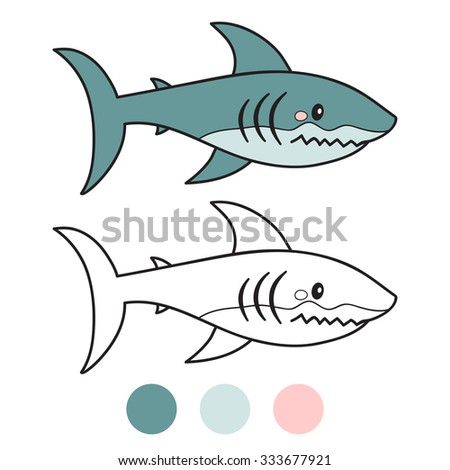 shark. Coloring book page. Cartoon vector illustration. Game for children