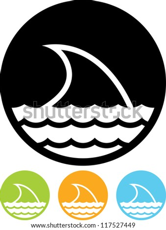 Shark danger sign - Vector icon isolated