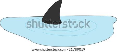 shark fin illustration - stock vector