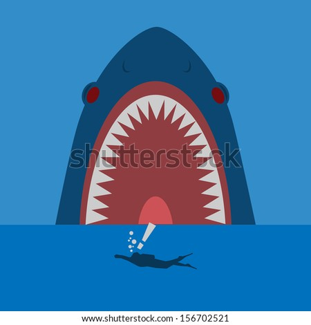 shark hunter the diver  - stock vector