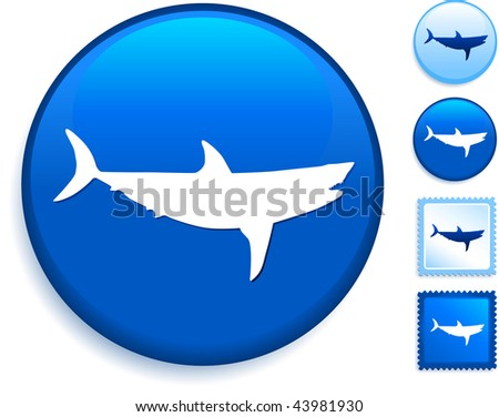 Shark Icon on Internet Button Original Vector Illustration - stock vector