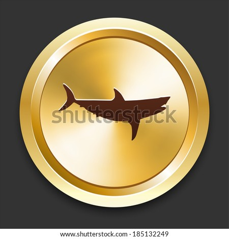 Shark Icons on Gold Button Collection - stock vector