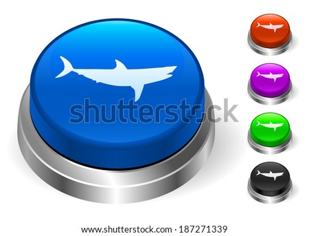 Shark Icons on Round Button Collection - stock vector