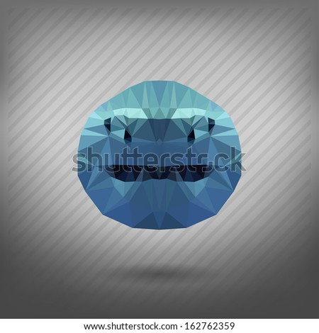 shark in the style of origami - stock vector