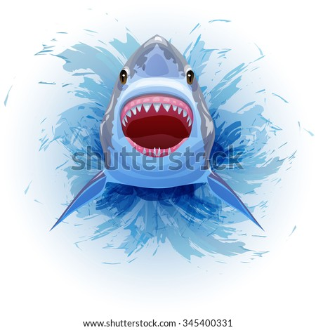 Shark jumps out of the water with his mouth open. Vector Image. - stock vector
