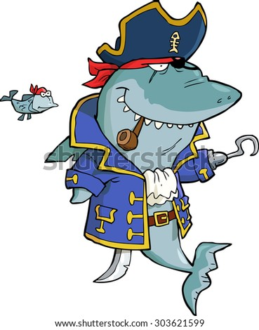 Shark Pirate on a white background vector illustration - stock vector