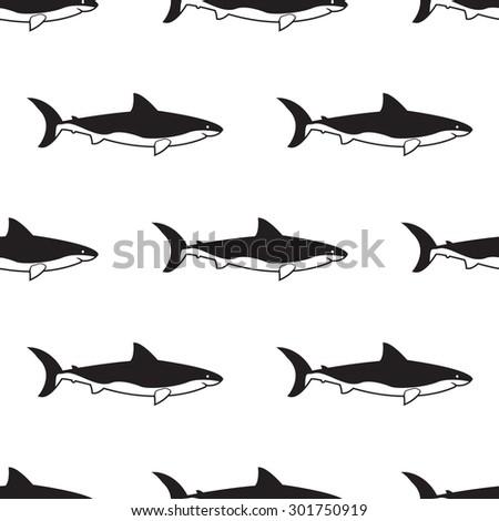 Shark seamless pattern black and white - stock vector