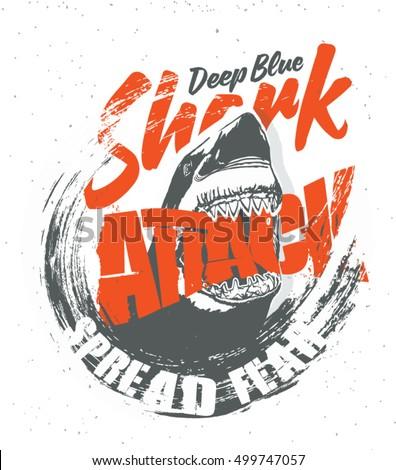 Shark shark attack tshirt typography design stock vector for Design attack