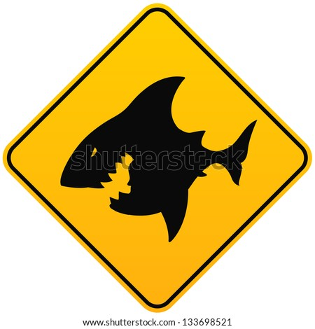 Shark sighting sign - stock vector