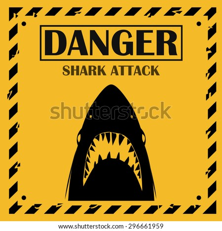 Shark sighting sign, Yellow danger shark attack background. - stock vector