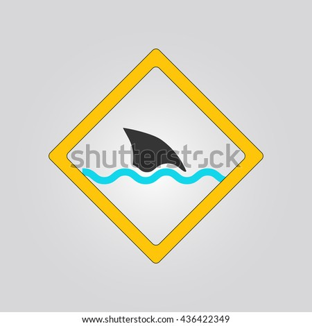 shark sign. warning. icon