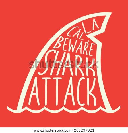 Shark typography, t-shirt graphics, vectors,  - stock vector