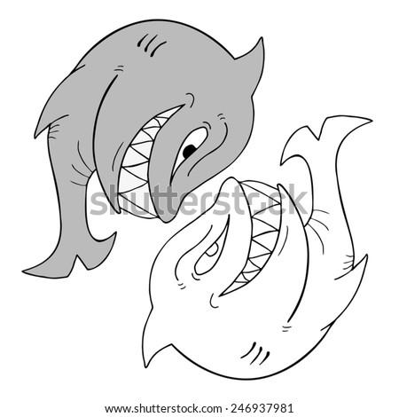 shark vector draw - stock vector