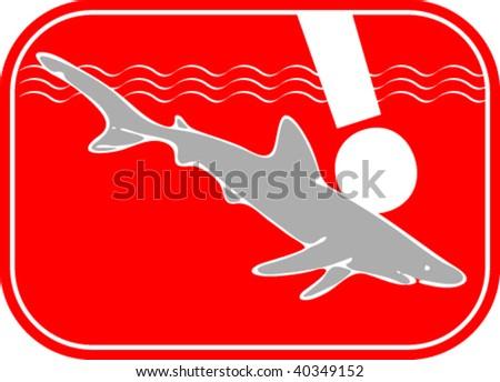 Shark warning sign - stock vector