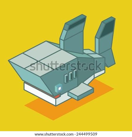 shark wireframe. 3d pixelate isometric vector - stock vector