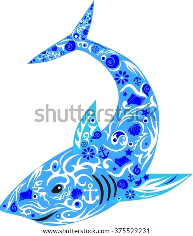 shark with drawing, a sea animal, an illustration of fish, the predator with design, the children's picture, large fish, a vector shark, a pattern from cockleshells and flowers, an ornament a sea,