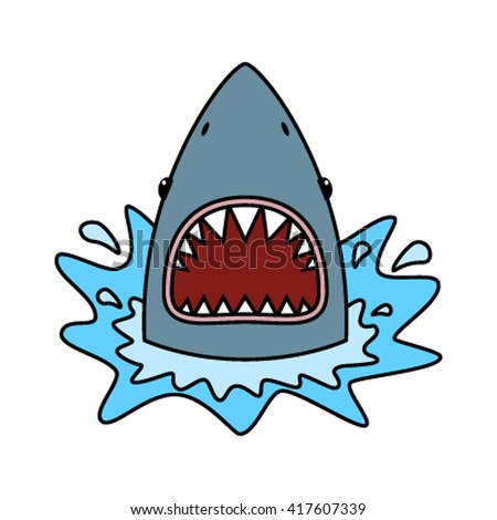 Shark with open mouth. Flat vector illustration - stock vector
