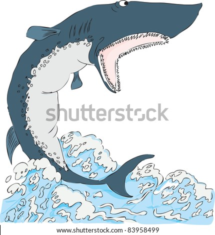 Shark with open mouth on the water surface. Vector illustration of the format EPS.
