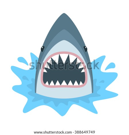 Shark with open mouth. Shark isolation on a white background. Flat vector illustration - stock vector