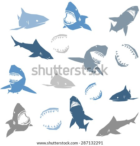 Sharks silhouettes seamless pattern. Isolated blue on white Background. Vector illustration - stock vector