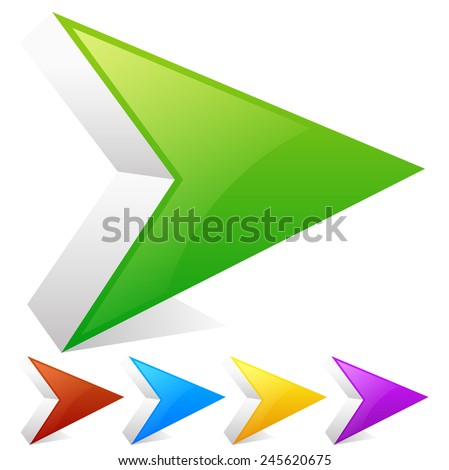 Sharp arrowheads, arrows right with slight highlight. Green, red, blue, yellow or purple colors to match your designs - stock vector