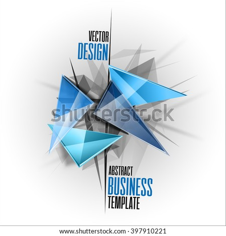 Sharp triangles on the abstract background as business template. Vector design elements. - stock vector