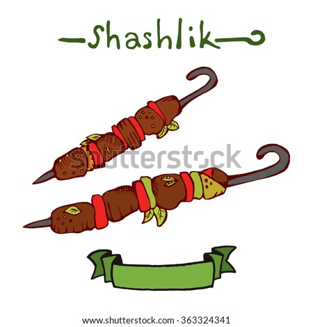 Shashlik. Hand drawn vector illustration