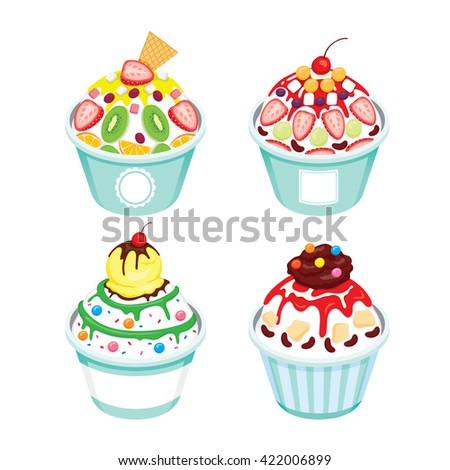 Shave Ice With Different Topping Set, Summer, Frozen Food, Eating, Icy