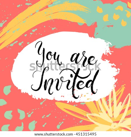 She said Yes! Invitation card. Vector isolated hand drawn lettering with abstract background. Printable wedding card template. Modern brush pen calligraphy. Cute words and phrases. Ready-to print. - stock vector