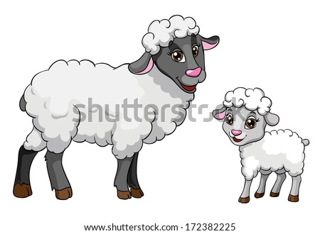 Sheep and lamb, vector illustration on white background - stock vector