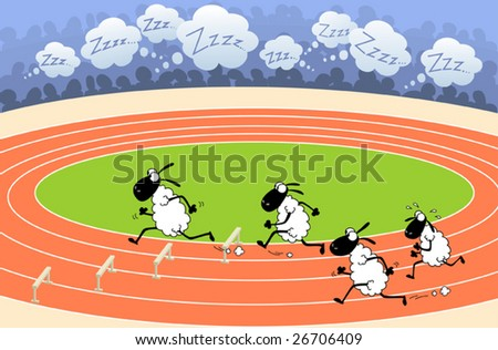 Sheep athletics. These sheep decided to take active role in fighting sleep disorders. - stock vector