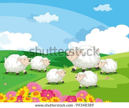 sheep in a field in new zealand - stock vector