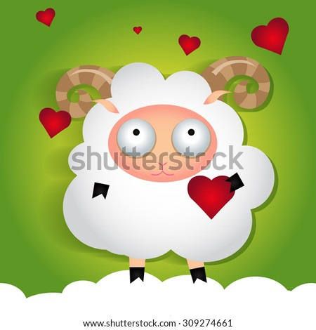 Sheep in love vector illustration.