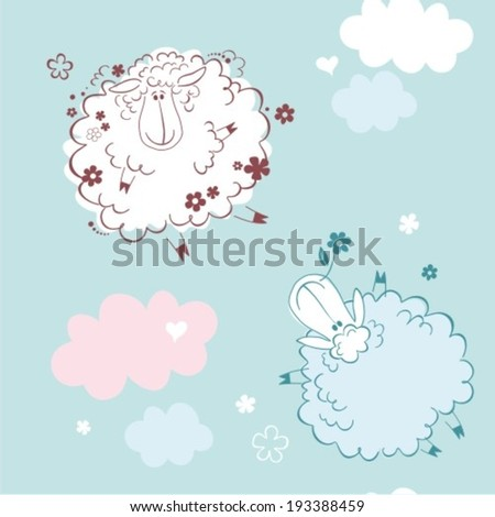 Sheep on clouds - cute cartoon childish seamless pattern in vector  - stock vector
