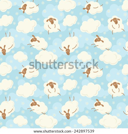 Sheep on clouds with flowers - cute cartoon seamless pattern. - stock vector