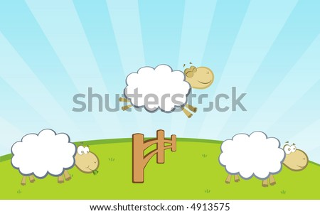 sheep on green grass jumping fence - stock vector