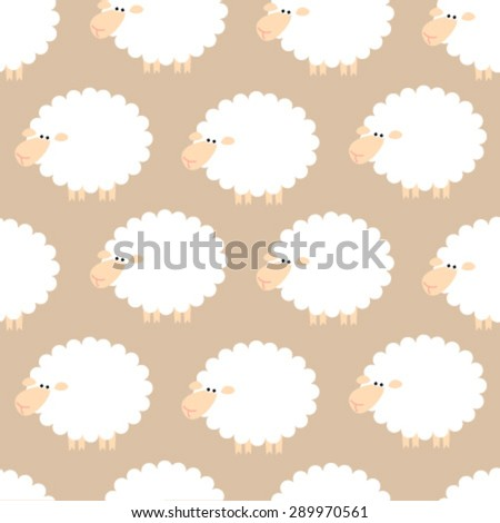 sheep on light brown seamless pattern - stock vector