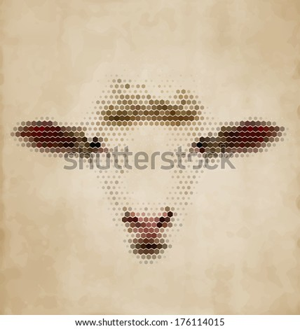 Sheep portrait made of geometrical shapes - Vintage Design - stock vector